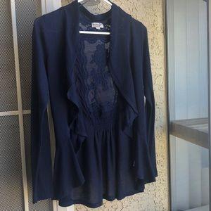 One world navy blue cardigan w/ embroidery, sz S